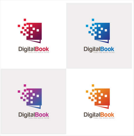 Digital Book Logo Design Vector Stock. Modern Book Logo Design Template. Bookstore Tech logo Icon