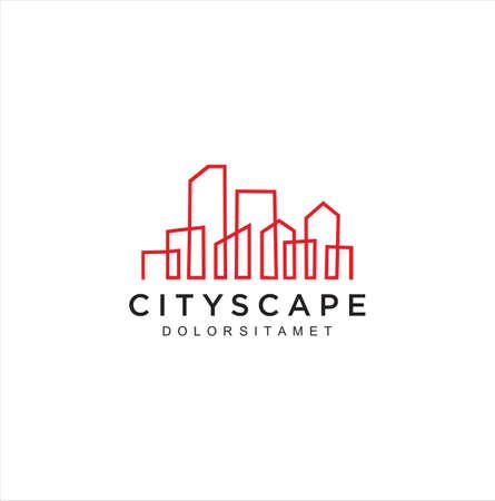 buildings logo Line template. Abstract real estate Logo vector design. Cityscape logo Design