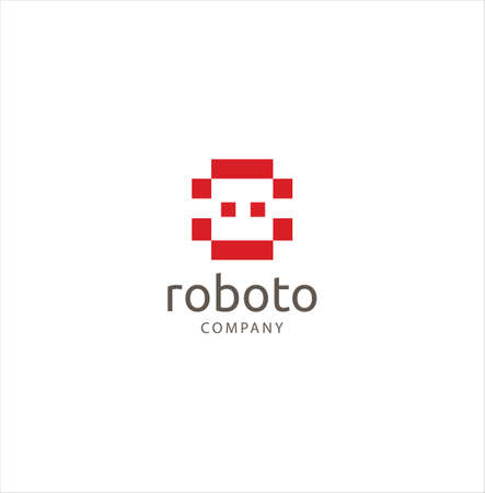 Simple Robot logo design concept.