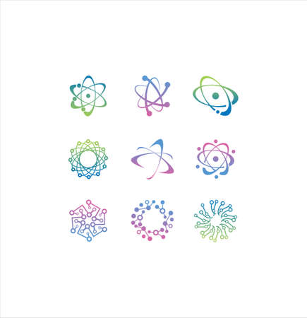 Set Of DNA genetic sign, icons and elements collection. colorful of DNA Symbol Isolated. DNA logo vector.