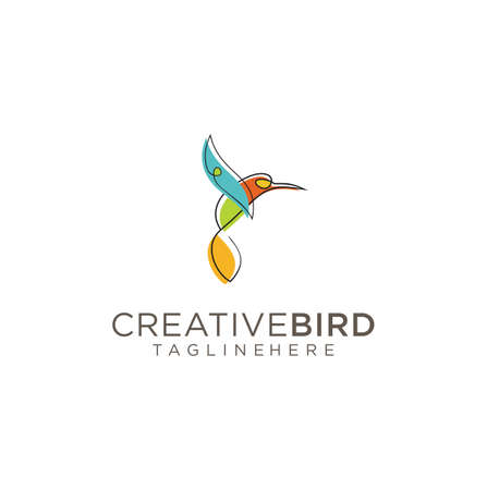 Bird Logo Abstract Graphic Out Line And Modern Vector . Flying Bird Logo abstract colorful design vector template . Humming Bird Logo . Colibri Logo