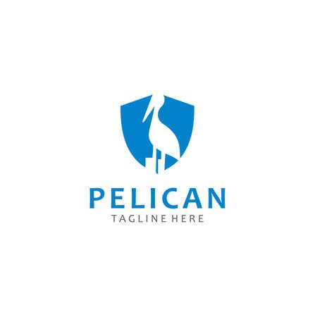 Pelican Logo Business Capital abstract design template. Pelican Shield Logo Design Stock Vector 일러스트