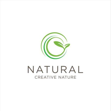 Organic Leaf Circle Logo Designs Inspiration. Round Nature Logo Design Healthy