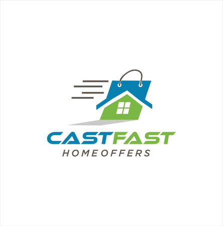 House Offers Logo Cast Fast Design Vector Stock. Home loan For real estate Design Template. Sell And Buy Home Logo Icon