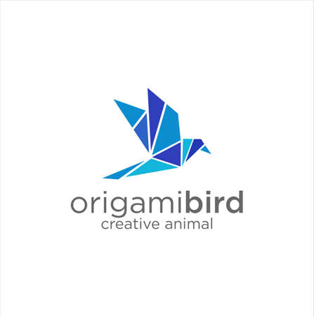 Abstract Origami Bird Logo Design Vector Template 스톡 콘텐츠 - 150640373