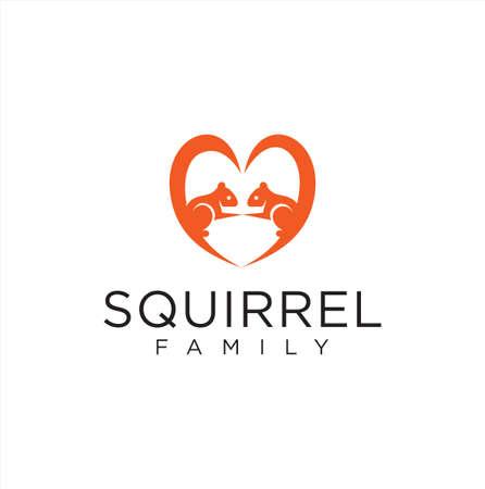 Squirrel Love Logo Icon Mascot Character. Chipmunk Couple Logo Design Template