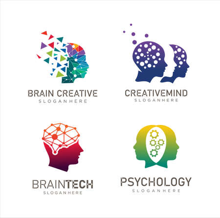 Set of Head Tech logo, Pixel Head logo concept vector, Robotic Technology Logo template designs illustration Иллюстрация