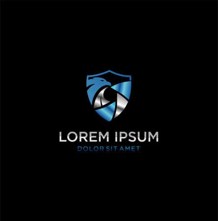 Silver Security Shield Blue Ribbon Eagle Logo Design Template