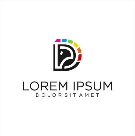 Colorful Unicorn Logo Icon Design Vector . Pegasus Unicorn Logo . Unicorn horse head Logo Design Template Illusztráció
