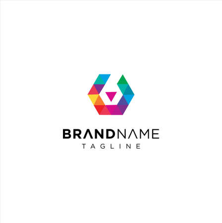 Abstract Creative Letter B Colorful Hexagon Logo Vettoriali