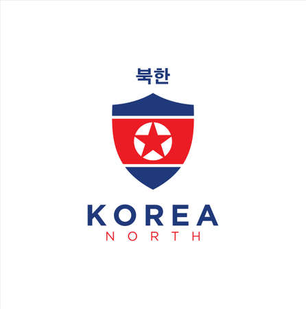 North Korea Logo Flag Shield. North Korea flag badge shield 矢量图像