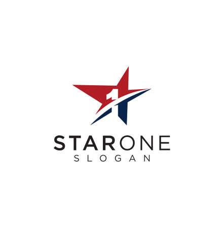 Star One Logo Design Inspiration Vector Illustration. Star 1 Logo Design Business Capital Template