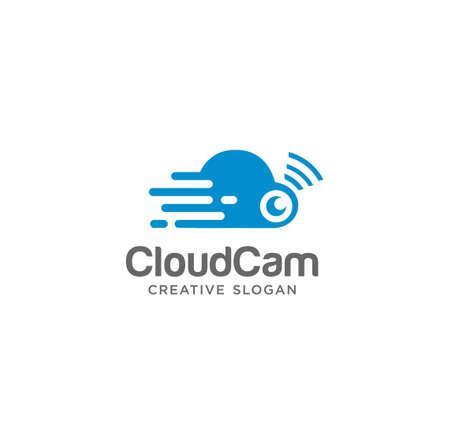 Cloud Cam Logo Design Vector Stock . cloud tech logo Icon Inspiration. Cloud CCTV logo Flat Design