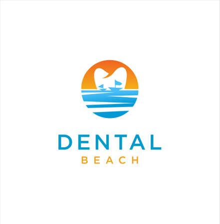 Dental Beach Logo Design. Modern Dental on the Beach logo design inspiration. Dentist Sea Logo Medical 写真素材 - 150641307