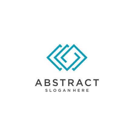 Abstract Monogram Square Logo Line Monoline Designn Vector Stock Illustration