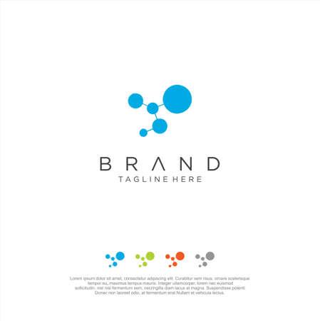 DNA Molecule Atom Logo Abstract digital Technology design vector..