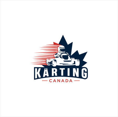 Canadian Karting Logo Design vector illustration. maple leaf Karting logo . Canadian Sport Logo . Canada Karting Logo . Vettoriali