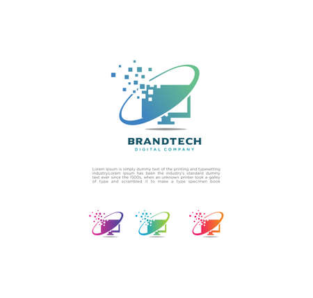 Modern Smart Monitor Tech Logo Design Vector Icon Illustration . Abstract Monitor Technology Logo Digital  Design Template Reklamní fotografie - 150588477