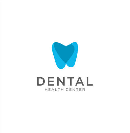 Dental healthy care tooth logo . Dental Care Medical logo design on white . Creative dental care clean blue teeth logo 写真素材 - 150635259