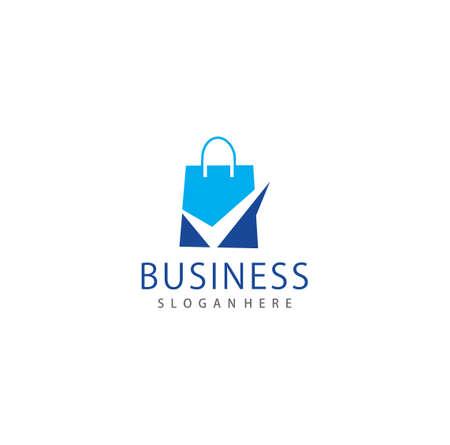 Creative Shop Bag Check Logo Design Vector Symbol. Shoping Logo Design Business Template Vettoriali
