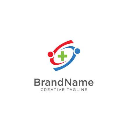Healthcare cross abstract logo . Medical Group Logo Icon Design . Group Logo Design Template Vector . Teamwork And Community Logo Template Vector .