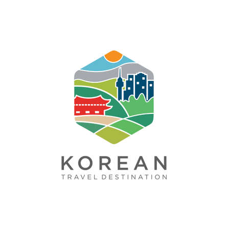 KOREA Logo Vector. Korea Travel Landmarks Logo Design Template. Korea Tourism Logo Vector Stock