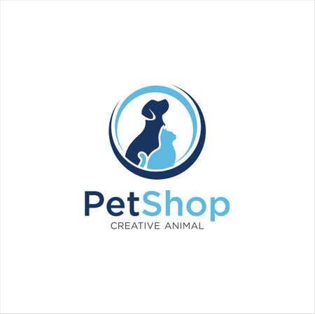 Pet Shop Logo . Pet logo design . Dog cat logo . Animal Pet Care Logo,Pet House,Vet , Store , Pet Health 写真素材 - 150640390
