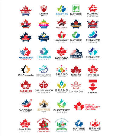 Big set Of Canada Logo Design vector Stock illustration . collection set maple Leaf Logo Canada Design Vector Stock