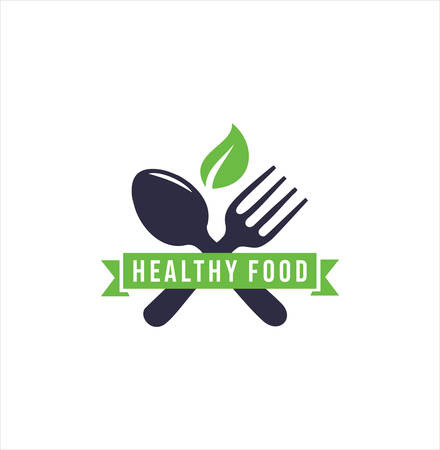 Healthy Food Logo design . Organic Food Logo . Natural Organic Food Logo With Cutlery And Leaves .Leaf cutlery healthy food Logo .