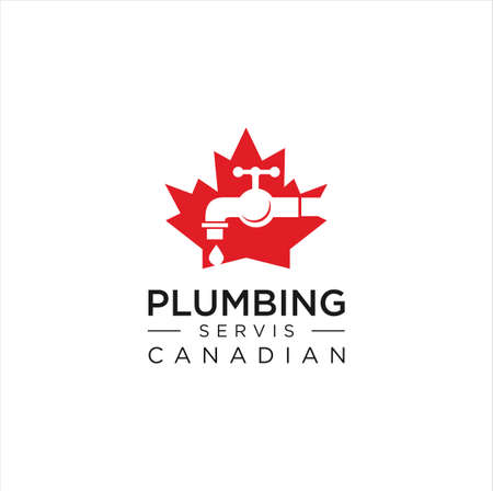 Maple Plumbing Logo Nature Design vector illustration. Canadian Plumbing Logo Design Template. Plumbing Logo Template Design Vector