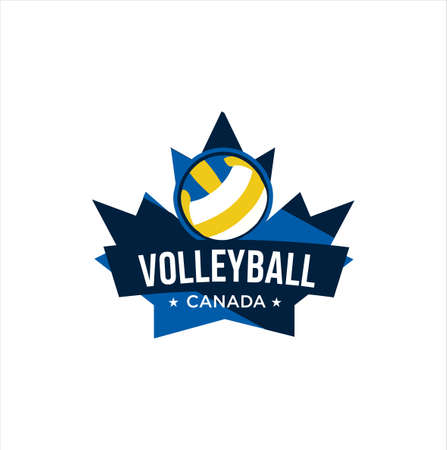 Canadian Volleyball Logo Design vector illustration. maple leaf Volleyball logo . Canadian Sport Logo . Canada Volleyball Logo .