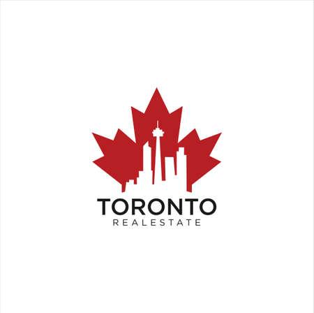 Maple Toronto Real Estate Logo Design vector illustration .Toronto skyline Logo . Maple real estate logo . Canadian Real Estate Logo .
