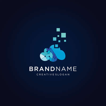 Cloud tech logo design template icon . Cloud Internet logo . cloud Digital logo Archivio Fotografico - 149593319