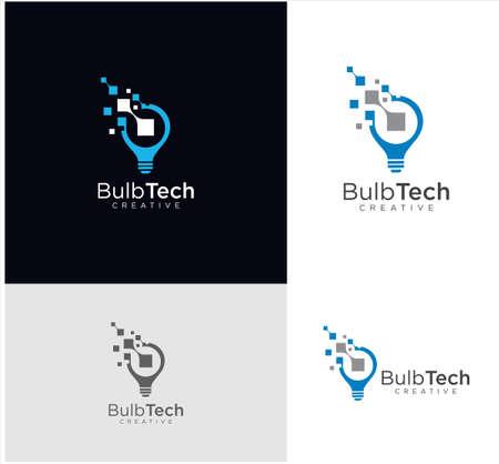 Smart bulb tech logo icon . Idea creative light bulb logo . Bulb digital logo technology Idea .Bulb Logo Design Colorfull . Vettoriali