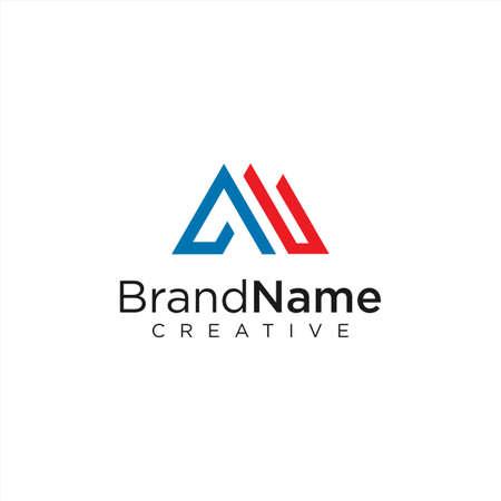 Letter A logo Line Design Vector Stock illustration.