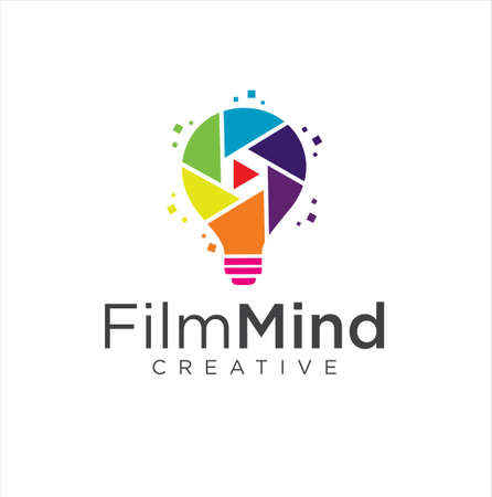 Bulb Film Logo . Creative Video Logo Icon Design . Light Bulb Creative Film Studio Logo Vettoriali