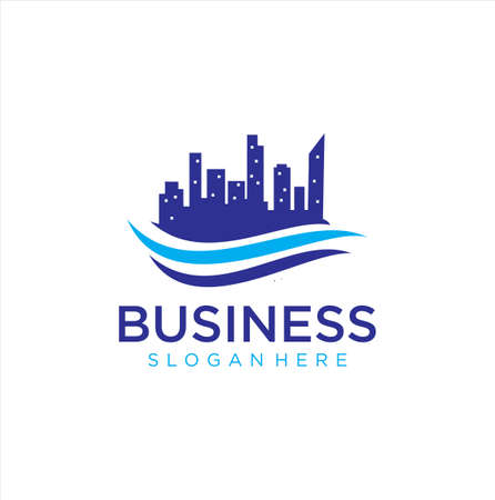 Building cityscape wave logo . Abstract building wave Logo Vector . City Skyline Logo Vector . 向量圖像