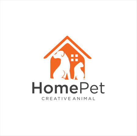 Pet Shop Logo Design Stock Illustrations . Pet logo design . Dog cat logo . Animal Pet Care Logo . Vet logo, Pet Store . Pet Health Logo Archivio Fotografico - 149593338