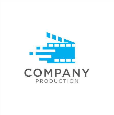 Cinema Tech logo movie emblem template . Movie Production Logo .Film Camera Logo Template . film strip cinema , Videography Logo Images