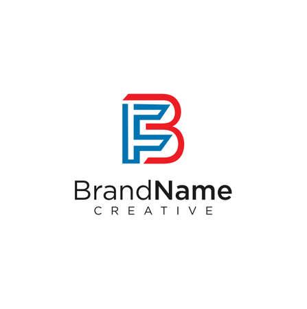 Letter F B logo Line Design Vector Stock illustration. Vettoriali