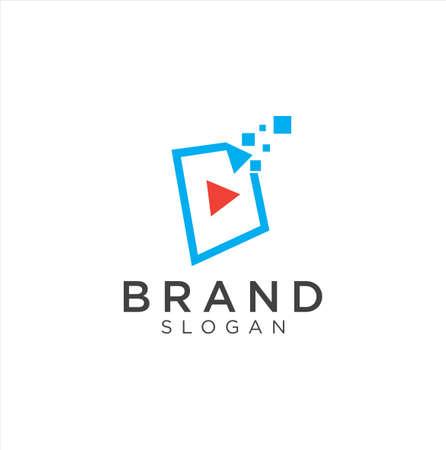 Media Tech Logo . Play tech Logo . Video Logo Design Concept Vettoriali