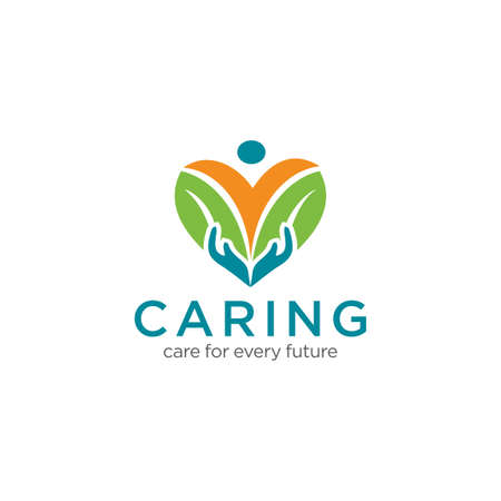 Caring Logo Design Vector Stock Illustration . We Care Logo . Caring Hands Logo . Love Care Logo Template Vectores
