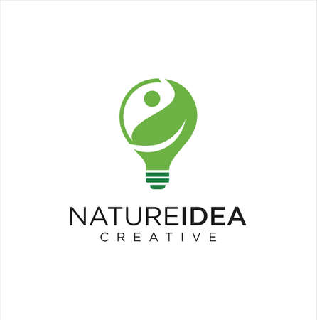Bulb Eco Logo . leaf bulb logo. Ecology Bulb Lamp With Leaf Logo Save Energy Plant And Nature Concept Vector Stock Illustration . Nature Bulb Logo Design Template Vector Vettoriali