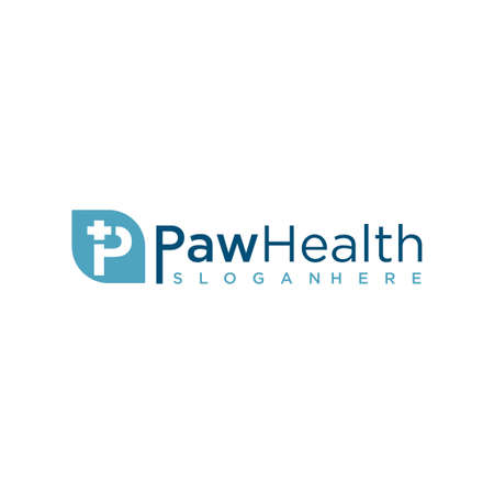 Pet Medical Clinic Health Design Logo Template . Pet paw clinic health logo icon . Animal health logo Vettoriali