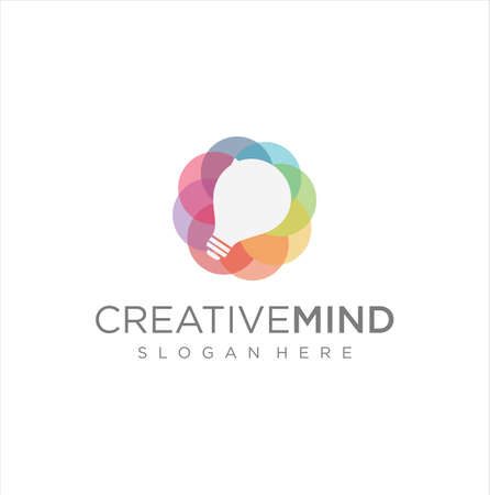 Bulb Logo Design Colorfull . Idea creative light bulb logo . Smart bulb tech logo icon . Bulb digital logo technology Idea
