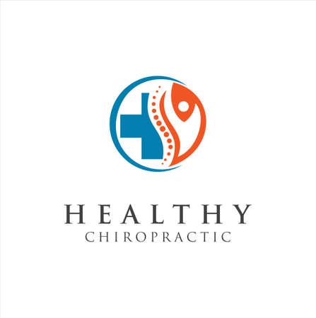 Chiropractic Logo Design Vector illustration. Pain Logo. Spine care logo . bone ,orthopedic , Chiropractic Wellness Center . Illusztráció
