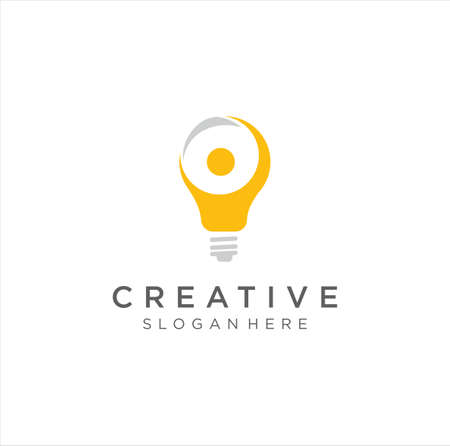 smart people logo design template. creative idea logo designs . Human people bulb lamp think smart logo icon