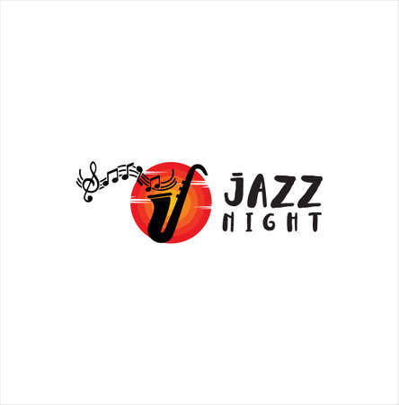 Jazz music logo Icon . Modern professional sign logo jazz music . Saxophone logo vector illustration design