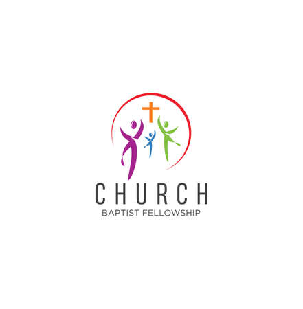Community church logo design inspiration Vector . Family Church Logo Icon On White Background Stock Vector . Happy Family Church Colorful Logo Vector