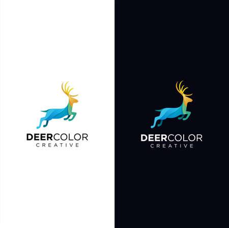 Horns, antelopes, elk, moose, Cervinae,muntjac, fallow deer, chital, Capreolinae, reindeer, chevrotains, Ruminantia And deer Logo Tech Colorful Design Illustration.